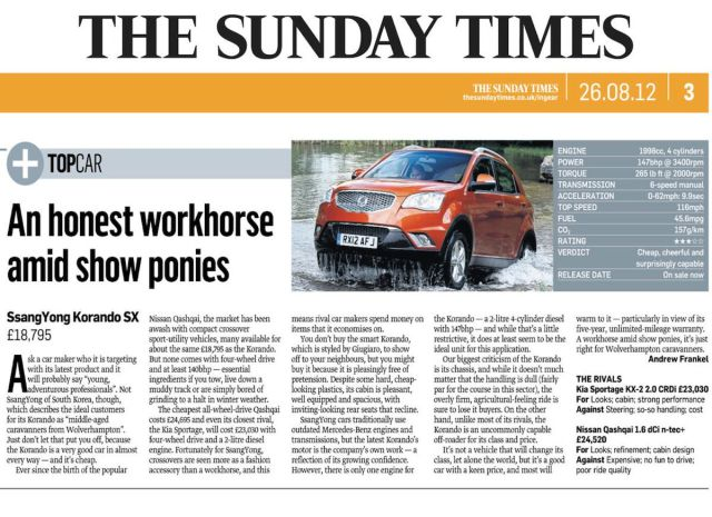 """An honest work horse amid show ponies"" - The Times reviews Korando SX"